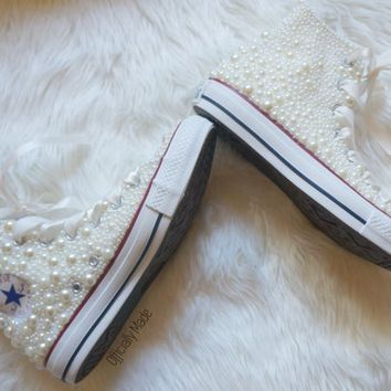 Bridal Pearl Converse Custom Wedding Sweet 16 Studded Shoes Bridal Party Prom Shoes