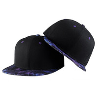 Unisex Mens Galaxy Brim Snapback Flat Bill Hat Adjustable Hip Hop Trucker Cap (Size: M, Color: Black & Purple)