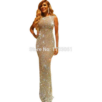 Luxury Crystal Abendkleider Avondjurken 2016 Evening Dresses Long Glitter Rhinestone Prom Mermaid Gown Sparkly Robe De Soiree