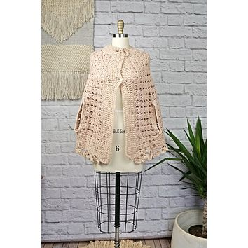 Vintage 1960s Delicate + Handknit Poncho Sweater