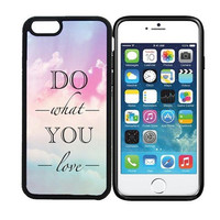 iPhone 6 (4.7 inch display) Designer Black Case - Do What You Love Quote - Pastel Sky