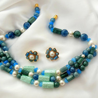 """Blue Green and Pearl Necklace and Earrings AVON """"South of France"""""""