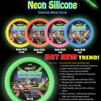 "Silicone Car Steering Wheel Cover GLOW IN THE DARK NEON GREEN""Cameleon Cover"""