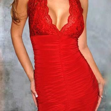 Streetstyle  Casual Red Patchwork Lace Cut Out Plunging Neckline Sleeveless Mini Dress