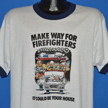 80s Make Way For Firefighters Ringer t-shirt Large