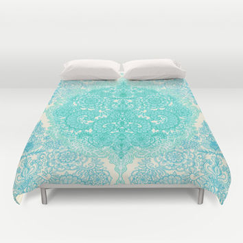 Happy Place Doodle in Mint Green & Aqua Duvet Cover by micklyn