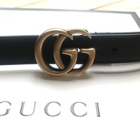 Ladies Gucci Marmont leather belt double GG buckle black 80cm worn twice only