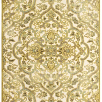 Ankara Collection Multi-Textured Art Silk Area Rug in Cream and Spa Blue by BD Fine