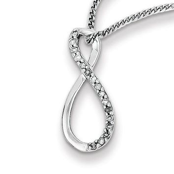 Sterling Silver Genuine Diamond Accent Vertical Infinity Necklace