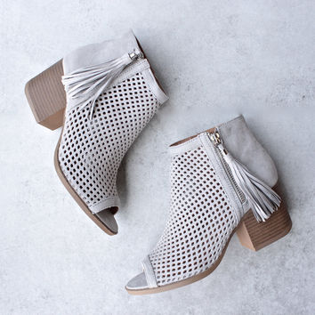 Olivia perforated ankle booties - grey