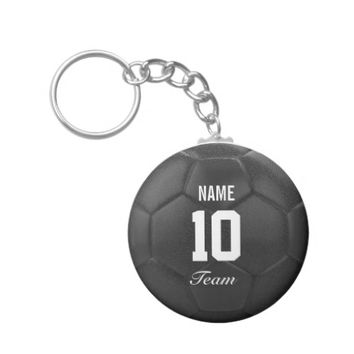 Team Soccer Ball Personalized Name Basic Round Button Keychain