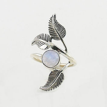 Moonstone Sterling Silver Leaf Ring