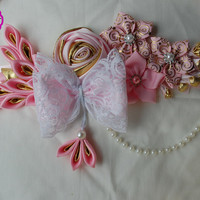 Pink and gold baby shower  maternity sash / Baby girl Maternity belt /Pregnancy sash / Mommy to be sash / Baby shower sash /It's a girl