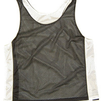 Womens Black and White Reversible Racerback Lacrosse Pinnie