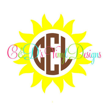 Sunflower Monogram Decal - Monogram Sunflower Decal - Monogram Car Decal - Monogram Decal - Car Decal - Monogram Sunflower - Sunflower Decal