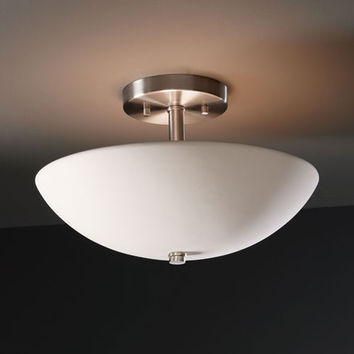 Justice Design Group CER-9690-HMBR Radiance Hammered Brass Round Bowl Two-Light Semi-Flush Light - (In FFF-Hammered Brass(HMBR))