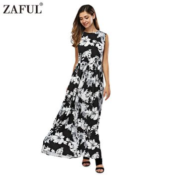 ZAFUL New Women Long Summer Dress Retro Floral Print Vintage Dress Sleeveless Floor-Length Female Party Maxi Dress Vestidos