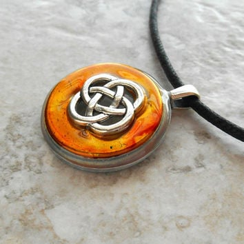 celtic knot necklace: yellow - mens jewelry - mens necklace - celtic jewelry - boyfriend gift - irish jewelry - unique gift - fathers day
