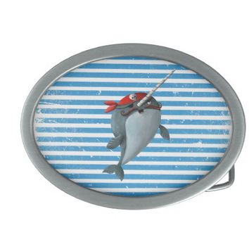 Cute Pirate Narwhal Oval Belt Buckles from Zazzle.com