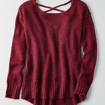 AEO Lace-Up Back Sweater , Burgundy