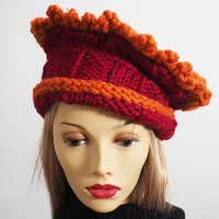 Ruffle Trim Hand Knit Red Hat // Burnt Orange // Wool Blend // Bulky Yarn // Crochet Hat // Roll Brim // Crown // High Hat // Winter Hat