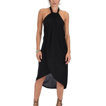 Lyss Loo Wrap Star Halter Black Midi Wrap Dress