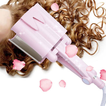 32MM Tourmaline Electric Ceramic Three Tube Hair Curler Roller Water Curling Iron Curl Styler Modeling Tools 3 Barrel Tourmaline
