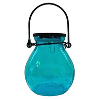 "S/2 5"" Bubble Solar Lanterns, Turquoise"