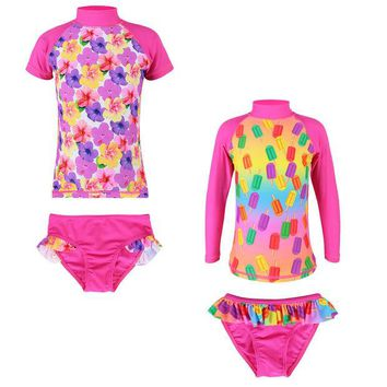 DCCKHG7 2017 New Girls UV SPF 50+ Sun Protection Swimwear Kid Two Pieces Set Long/Short Sleeve Flower and Popsicles Swimsuit 2-8Y