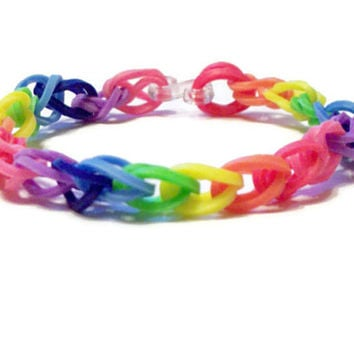Rainbow Friendship Bracelet, Rainbow Loom Bands - Rubber Band Bracelet, Thin