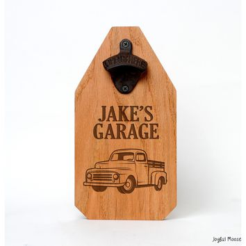Personalized Garage Sign - Father's Day Custom Wood Sign - Rustic Old Truck Beer Bottle Opener