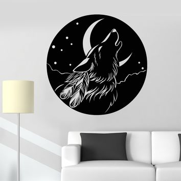 Vinyl Wall Decal Abstract Moon Howling Wolf Head Feathers Stickers (2255ig)