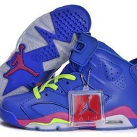 Hot Nike Air Jordan 6 Retro Women Shoes Blue Pink Green