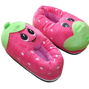 CN'Dragon Cute Cartoon Vegetable And Fruits Plush Slipper Indoor Household Warm Slippers Covered Heel