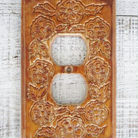 Light Switch Covers Wooden Light Switch Cover Floral Design Light Switch Plates Cottage Chic Light Switch Cover Boho Decor Home Improvement