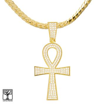 Jewelry Kay style Men s 14K Gold Plated ANKH Cross Pendant Miami a714441e39ab