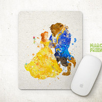 Beauty and the Beast Mouse Pad, Disney Belle Watercolor Art, Mousepad, Home Art, Gifts Idea, Art Print, Desk Decor, Princess Accessories