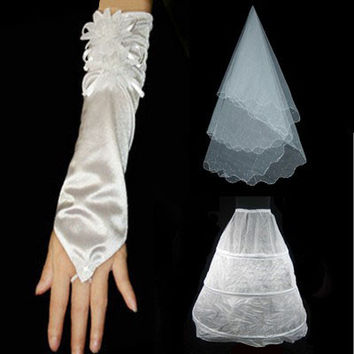 Cheap 2017 Wedding Veil Gloves Petticoat Bride Dress Wedding Accessories Bridal Gloves Women White Ivony Imilation Silk Flower