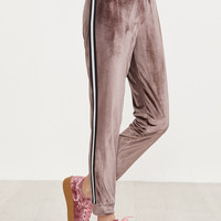 Brown Striped Tape Velvet Sweatpants