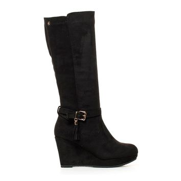 Black Lena Wedge Boots