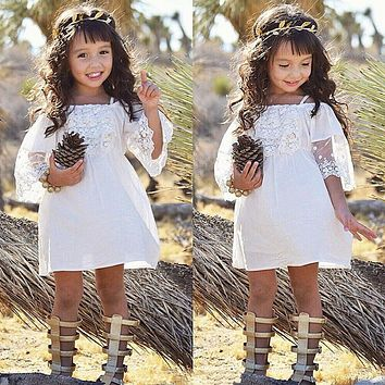 Baby Girls Off-shoulder Dresses Princess Children Baby Girl Clothing Lace  Party Gown Fancy Dresses 44a7ce064