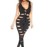 Jackie Black Sleeveless Clubbing Jumpsuit W/ Front Cutouts