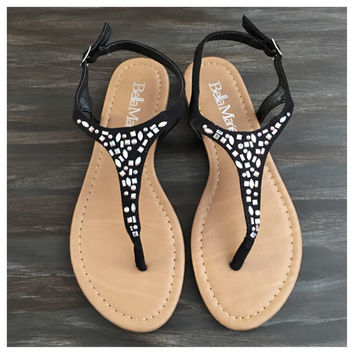 """Fun Time, Any Time"" Crystal Accented Black Suede Sandals"