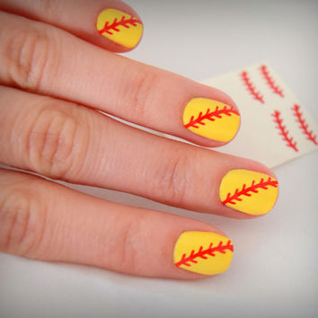 SOFTBALL NAILS Softball Nail Stickers (4 nail sets included= 48 designs)