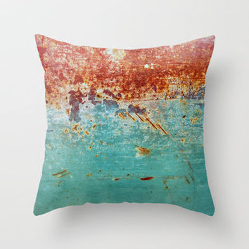 Turquoise Rust Throw Pillow by Richard Casillas