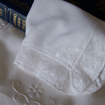 Lace Edged Bride's Hanky Fairy Tale Wedding Floral Design Victorian Style Antique Handkerchief