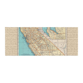 "Catherine Holcombe ""So Cal Surf Map"" Beige Blue Bed Runner"