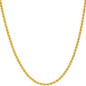 AUGUAU Lifetime Jewelry 1MM Rope Chain, 24K Gold with Inlaid Bronze, Premium Fashion Jewelry, Pendant Necklace Made Thin For Charms, Guaranteed for Life, 16 to 30 Inches