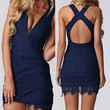 Midnight Blue Fringe Hem Lace Mini Dress