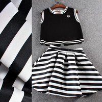 Black Sleeveless Stripes Hem Cropped Top A-Line  Ruched Swing Dress